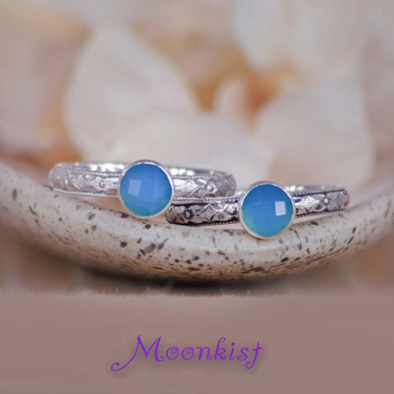 Blue Stacking Ring Blue Promise Ring -Size 5 Sterling Silver Promise Ring Blue Silver Ring Blue Gemstone Ring Blue Chalcedony Ring