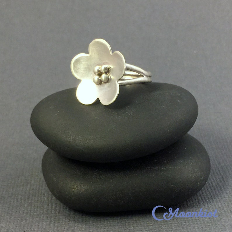 Split Shank Flower Statement Ring -Size 6 Ring Cherry Blossom Ring Sterling Silver Floral Ring Silver Flower Ring Silver Boho Ring