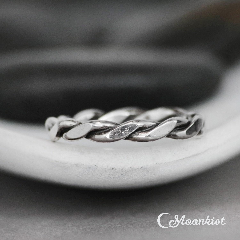 Twist Wedding Band Sterling Silver Twist Ring Mens Wedding