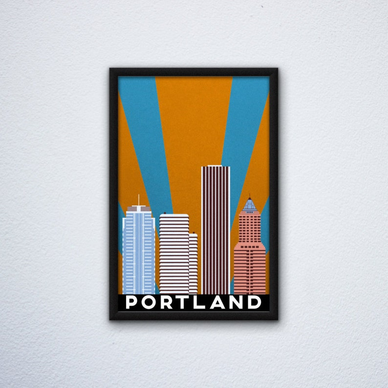 Portland Skyline Poster featuring the KOIN Center the ...