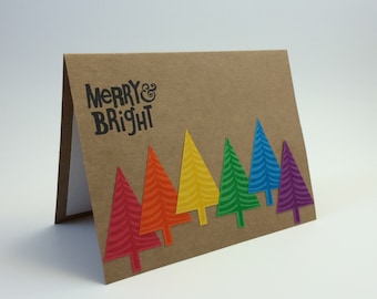 Unique holiday cards etsy set of 6 handmade hand stamped christmas holiday card bright cheerful unique rainbow trees m4hsunfo