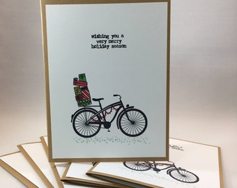 Bike Christmas Cards Etsy