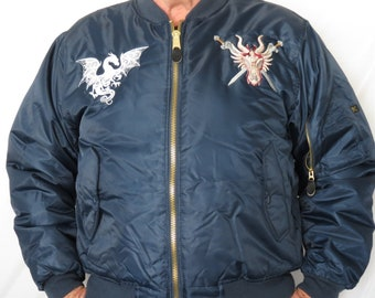 MA 1 Military Flight Jacket, Navy Blue with Elaborate Custom Embroidery