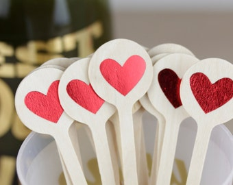 Red Heart Stir Sticks, Cute Drink Stir Sticks, Cute Valentine's Day Decorations, Bridal Shower Stir, Bachelorette, Heart Cupcake Toppers