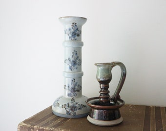 tall ceramic candle holder - hand painted - glazed - light blue - made in Mexico