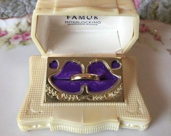 "Vintage ""Famor"" Ring Presentation Box - 1050's - Art Deco/Victorian/Shabby Chic"