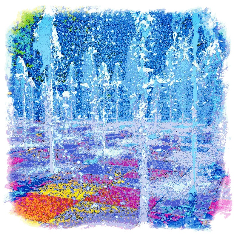 Urban Kansas City Crown Center Fountain Water Julie Flanagan artrageous studio prints canvas framed art