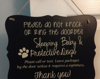 Sleeping Baby protective dogs door sign/ baby sleeping door sign/ Door Hanger/Protective Dogs/sleeping baby sign/ sleeping baby door sign/