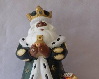 Ceramic Black Santa Figurine, Black Santa Claus, African American Santa, Santa Claus, Ceramic Santa Claus, Royal Santa, Black Santa Figurine