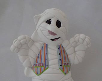 Ceramic Halloween Mummy Figurine, Halloween Mummy Figurine, Ceramic Mummy Figurine, Mummy in a Vest