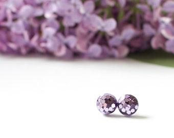Purple People Eater {Glitter Stud Earrings}