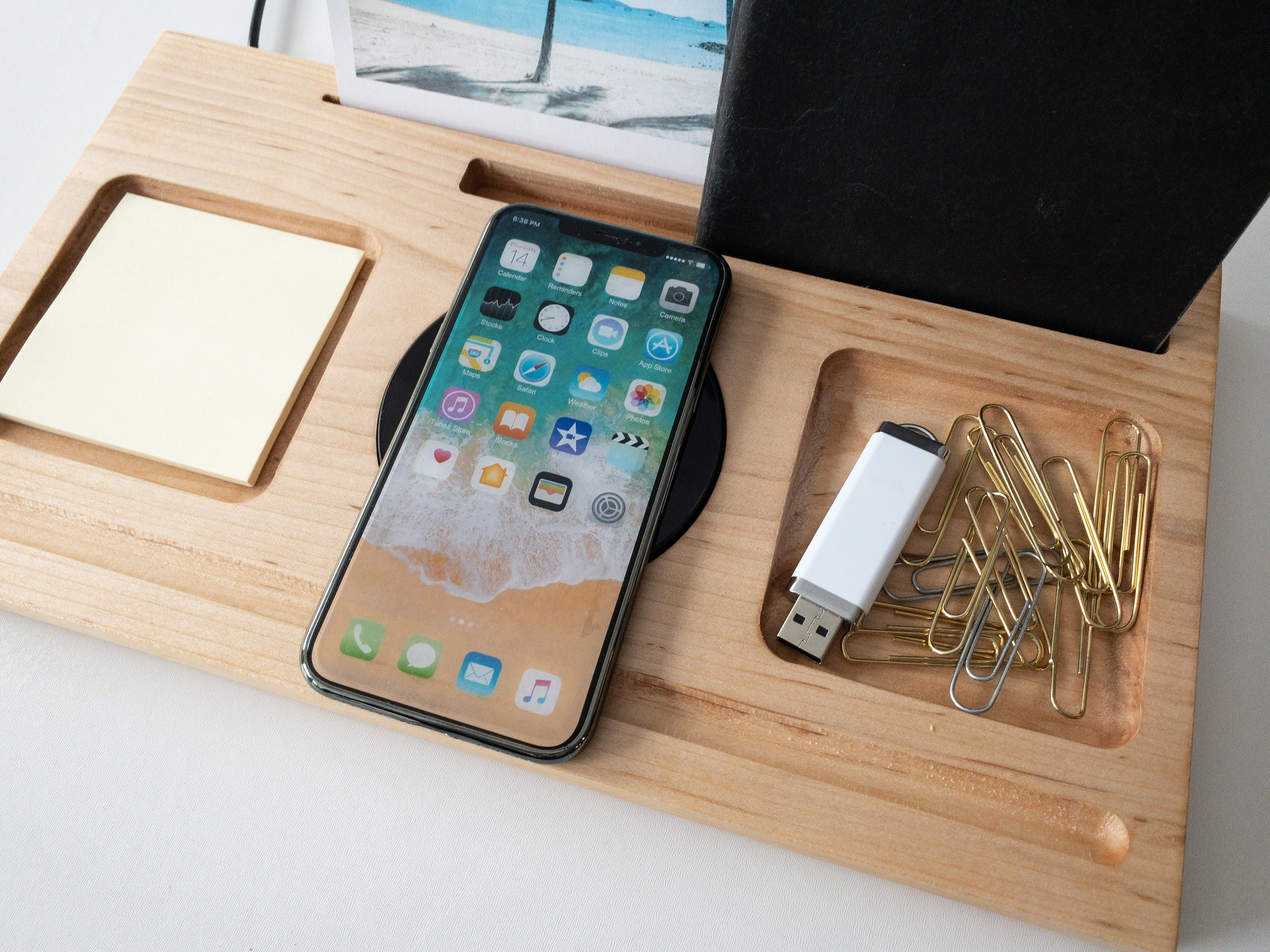 Wireless Phone Charging Station & Desk Organizer / Docking Station Qi  Charger for Samsung iPhone Android / Modern Minimalist XS XS Max XR