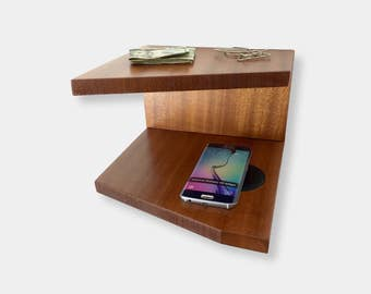 Docking Station Wall Shelf for iPhone & Samsung Wireless Charger - Angles Design