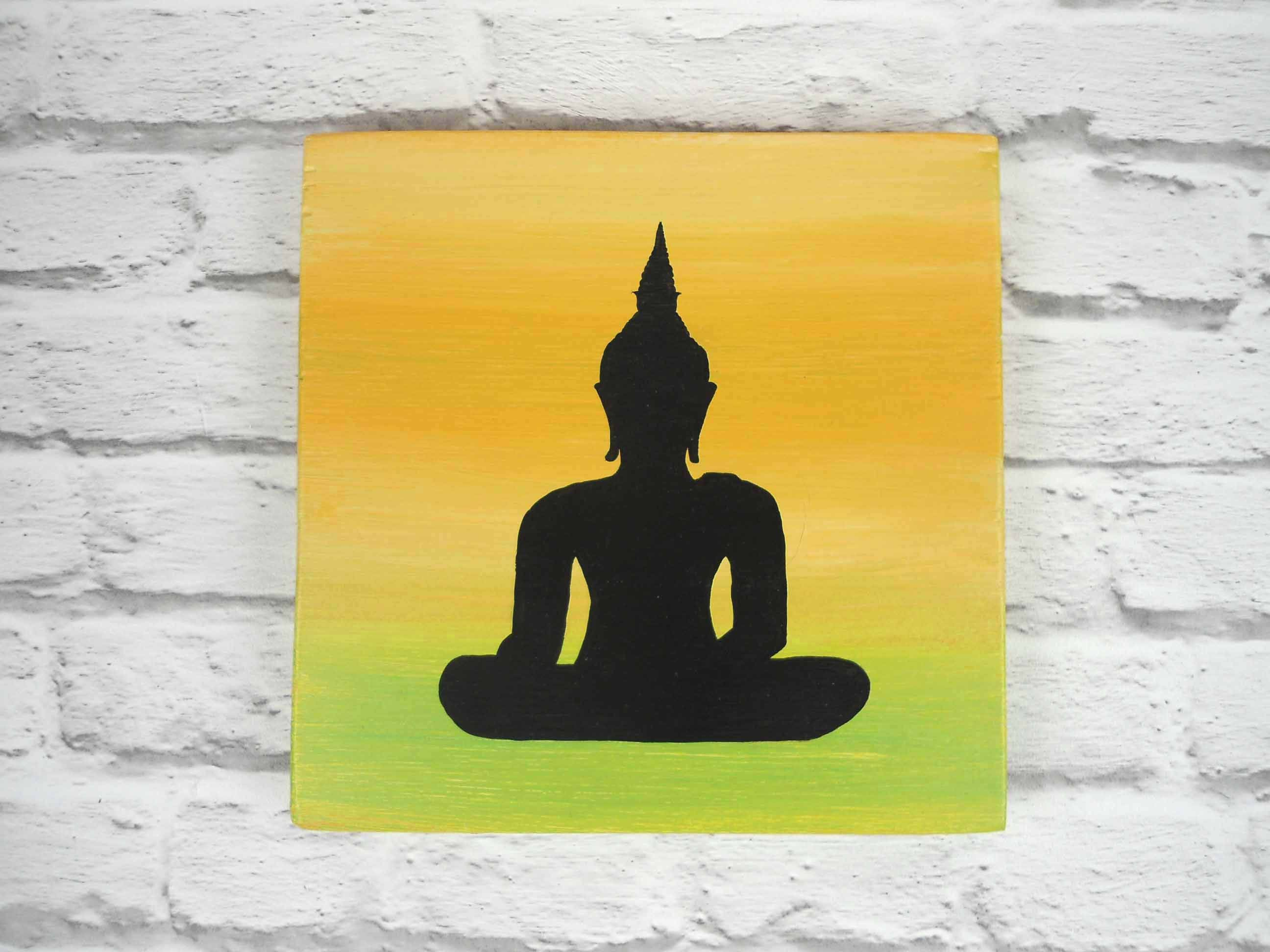 Buddha silhouette on wooden plaque Buddha wall decor | Etsy