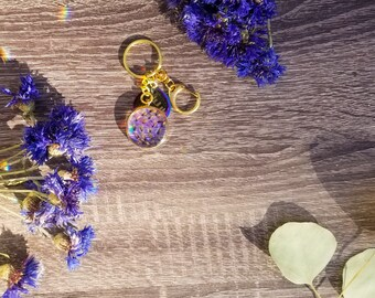 Liquid Crystal Floral Keychain, Herbal Resin Keychain, Botanical gift for her, real dried flowers herbs, nature keepsake, travel art, floral