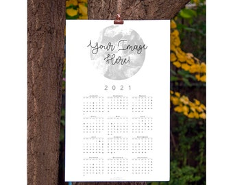 Custom 2021 Calendar, Year at a Glance, Wall Calendar, Year Calendar, Your Image on Calendar, Custom Calendar
