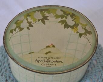 Sale! Cheramy Paris - April Showers Poudre de Toilette Tin Box of Powder - 19402