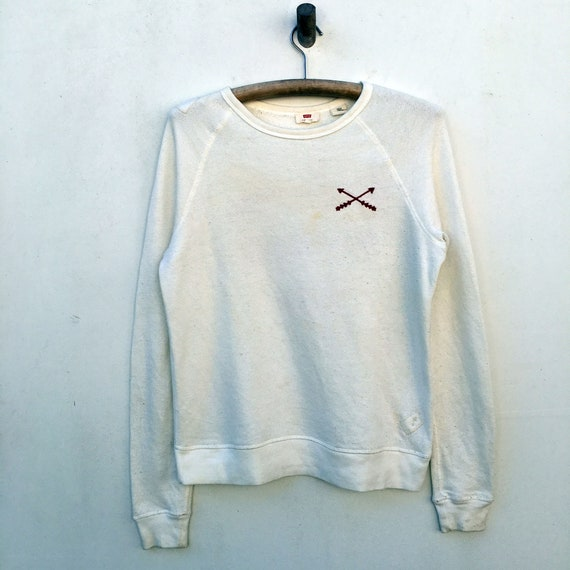 Vtg Levis Ripped Sweater Crewneck Native Embroider