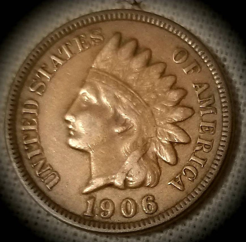 1890 1c Indian Head Cent Penny US Coin F Fine