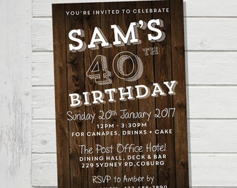 40th Invitation Mens Floorboards Male Birthday Party Invite Guy Forty Man