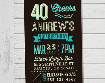 40th 50th 60th Invitation Men Male Birthday Party Hipster Invite Guy Man 30th Customised Evite Digital File Supplied