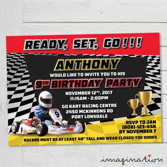 Go Kart Birthday Party Invitation Go Kart Racing Party
