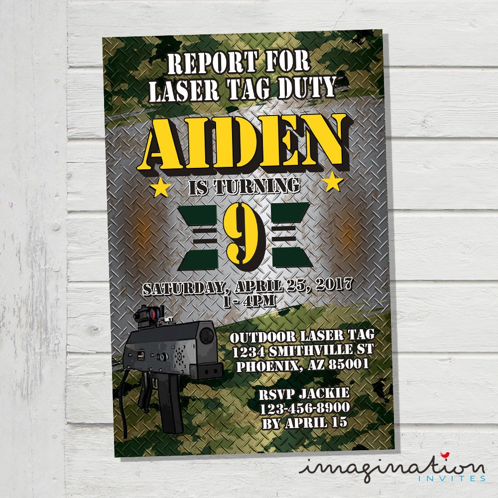 Laser Tag Invitation Outdoor Mobile Laser Tag Invite Army Camo | Etsy