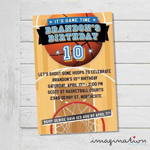 basketball invitation birthday party invite it s game day etsy
