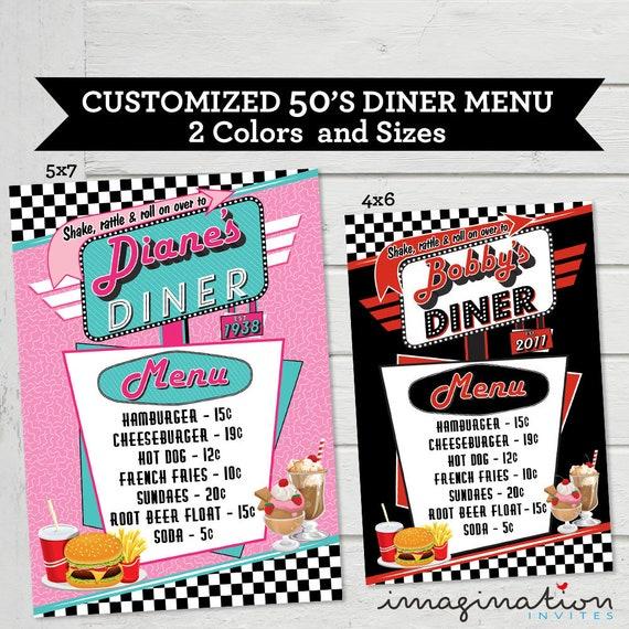 50s Diner Menu Cards Vintage Food List Card Retro