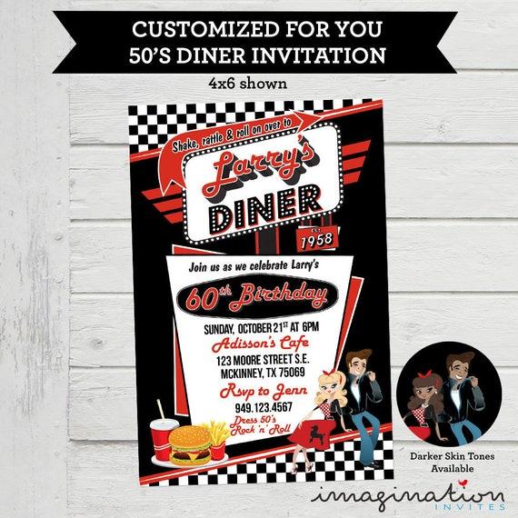 50er Jahre Rocke Diner Einladung Geburtstag Party Rock N Etsy