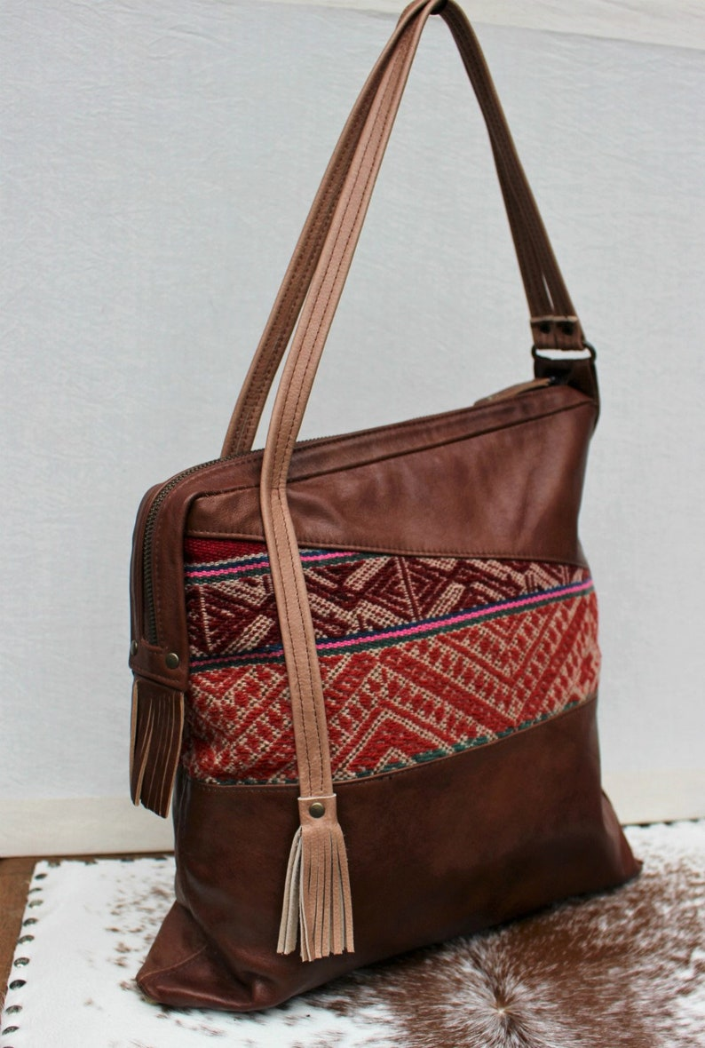 Leather and fabric bag Leather shopper bag Ethnic leather  9699b0847