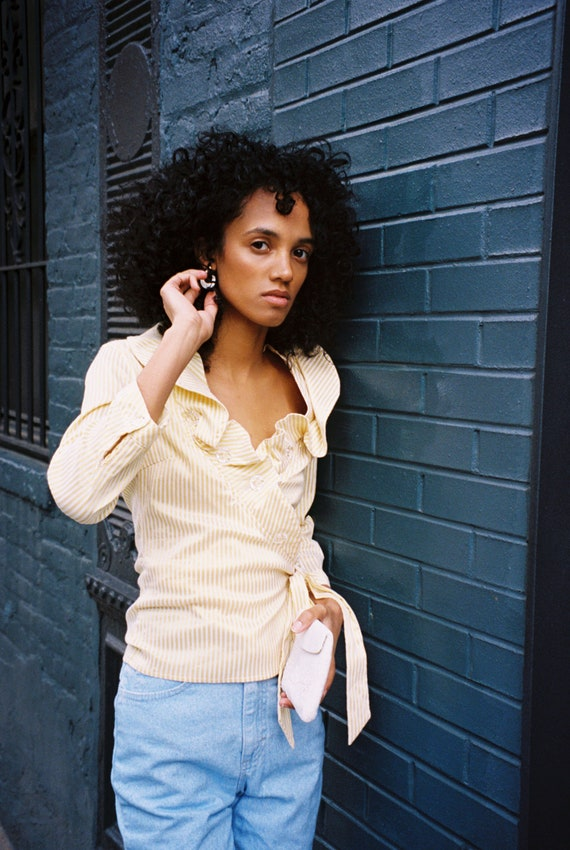 Yellow and White Ruffle Striped Blouse - image 3