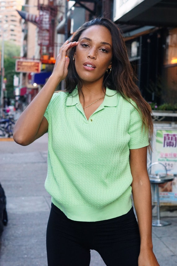 Vintage Lime Green Polo Sweater