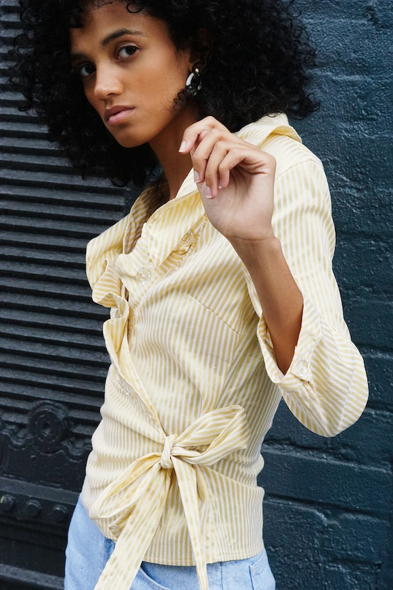 Yellow and White Ruffle Striped Blouse - image 2