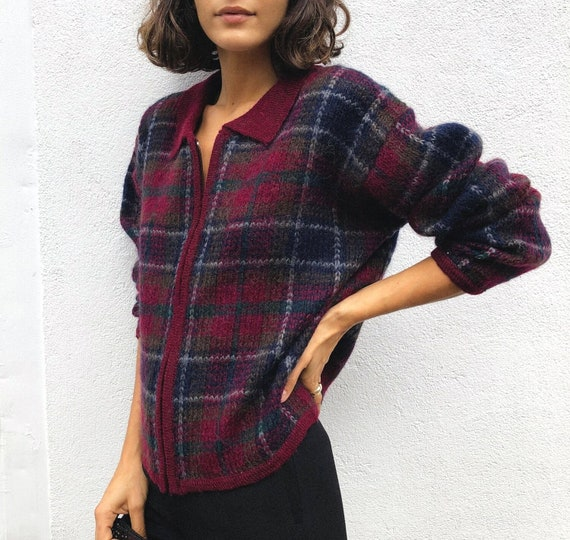 Vintage Plaid Mohair Sweater