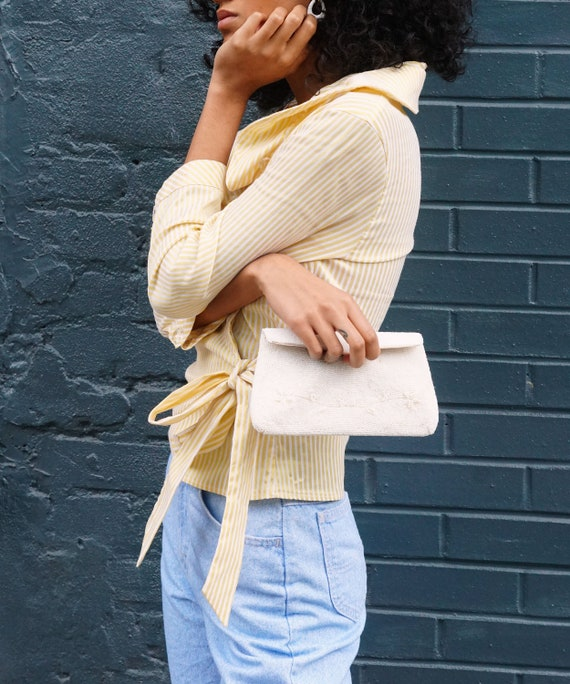 Yellow and White Ruffle Striped Blouse - image 5