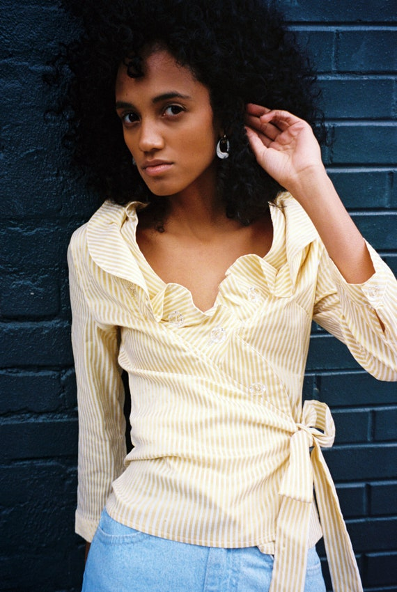 Yellow and White Ruffle Striped Blouse