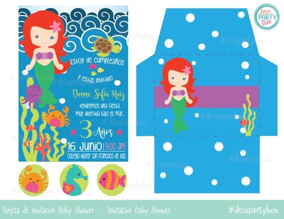 Items Similar To Little Mermaid Invitation Invitacion
