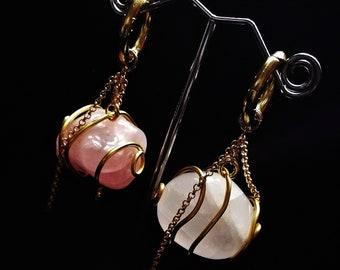PETRICHOR ear weights, plugs, piercing, stretched lobes, ear hangingers, quartz, gauges