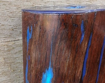 Tree Stump Table with blue resin and alcohol ink artwork