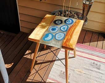 Timber and resin coffee table with agate slices