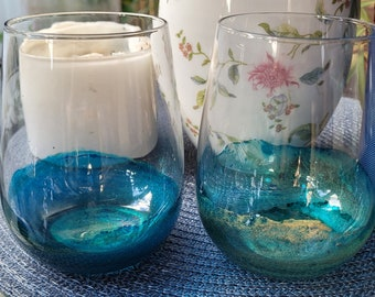 Stemless wine glasses with alcohol ink and resin artwork, set of two or four