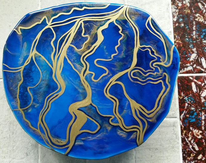 Tree stump - blue and gold resin art