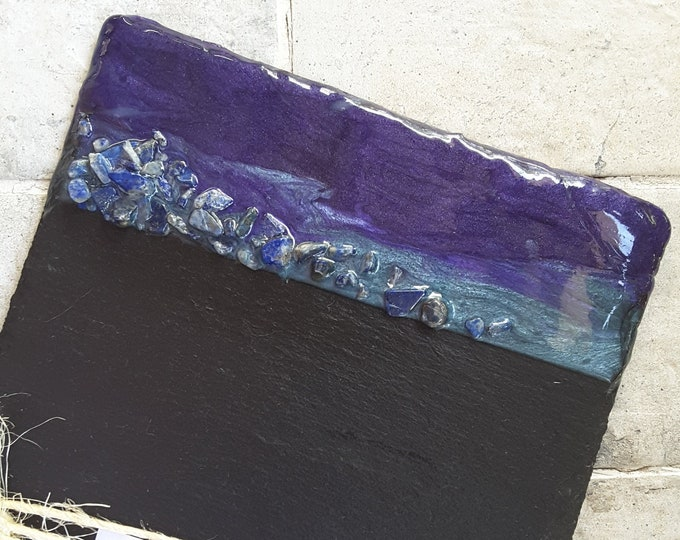 Slate serving board with resin art and lapis lazuli stones