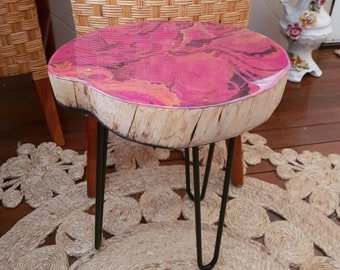 Resin coffee table made from salvaged coastal cypress
