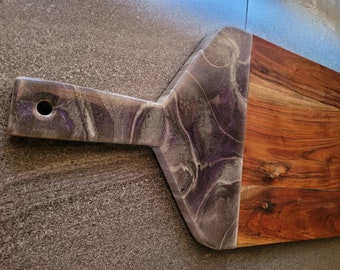 Purple and Silver wooden serving board with resin art