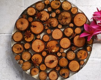 Timber round resin table centrepiece