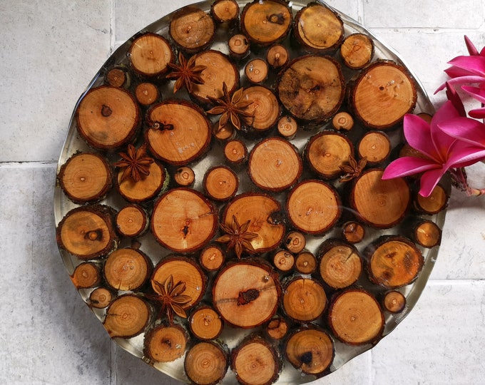 SOLD - Timber round resin table centrepiece