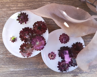 Resin coaster sets with bark, leaves and flowers