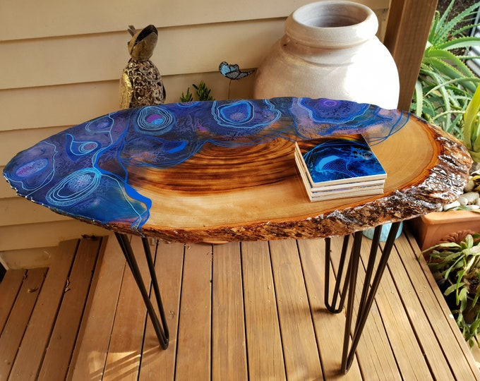 Resin table - camphour laurel with original artwork